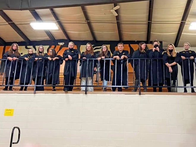 Bunceton Jr. High students sang Oct. 20  in the Cooper County Activities Association Choral Clinic held in Higbee. Participating were Aralyn Hickam, Kya Turner, Kaiyia Paquin, Haylee Irvin, Addison Ray, Riley Shadwick, Brooklyn Davis, Tyler Powell, Abby Pearcy, Emaly Haas, Hannah Empie and Paige Pearson.