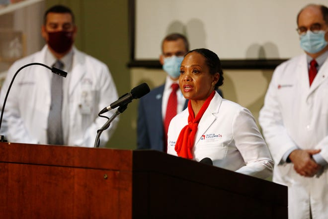 Columbus public health commissioner Mysheika Roberts, MD, talks about the increase in COVID 19 cases during a press confterence at Columbus Public Health, 240 Parsons Ave., last Monday.