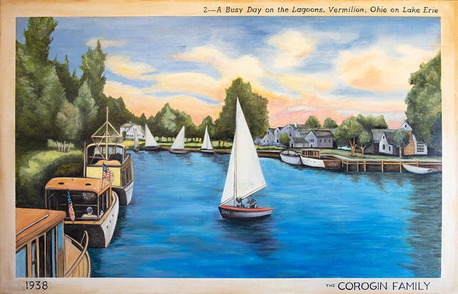 One of the postcards reproduced as a mural shows the Vermilion Lagoons from almost a century ago.
