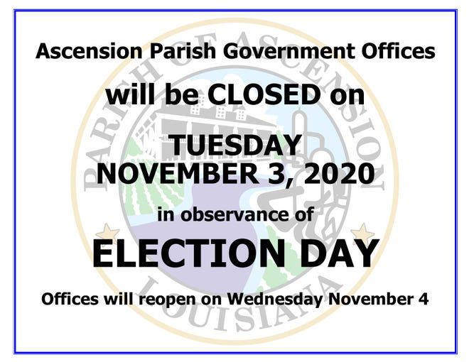 Ascension Parish offices to close for Election Day