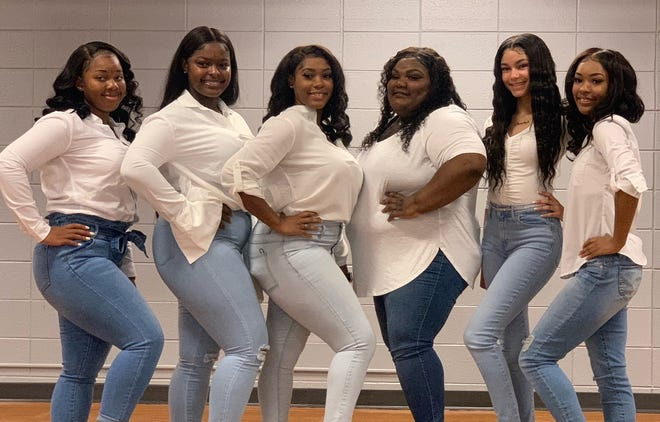 Homecoming Court Members (L_R): Miss Freshmen,  Bran'Daja Sam, Senior Queen Candidates, Keyle Levy, Kyla Pierre and Tiana Smith, Miss Junior, Daisha Falcon, and Miss Sophomore, Makiaya Joshua.