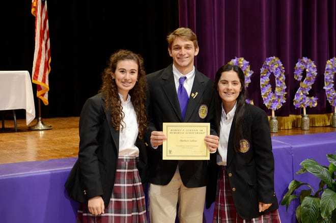 Matthew Lafleur receives the Robert P. Lemann Sr. Memorial Scholarship. Shown with Lafleur are Ella Lemann and Jeanne Lemann.