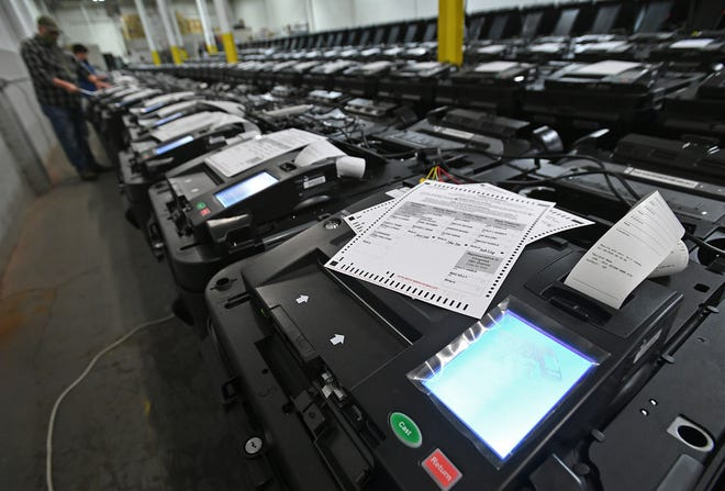 Erie County voting machine paper ballot scanners are tested, Oct. 8, 2020, in a warehouse on West 12th Street in Erie.