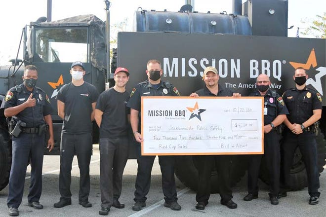 Mission BBQ recently presented a check for $4,234 to Jacksonville Public Safety, the donation was from Mission's Cup Campaign.