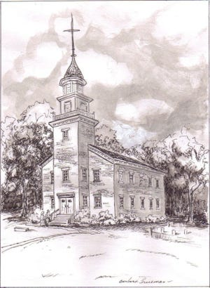 "The artistic renderings by local artist Barbara Trueman were drawn for an oral description of the ""Old Brick"" church. The drawings were done in conjunction with the bicentennial of The Church in Aurora and published in More Than a Landmark – A History of The Church in Aurora, 1809-2009."