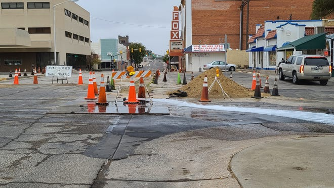 On Sunday the city flushed the replacement water main beneath Third St. between Colorado and Raton Avenues