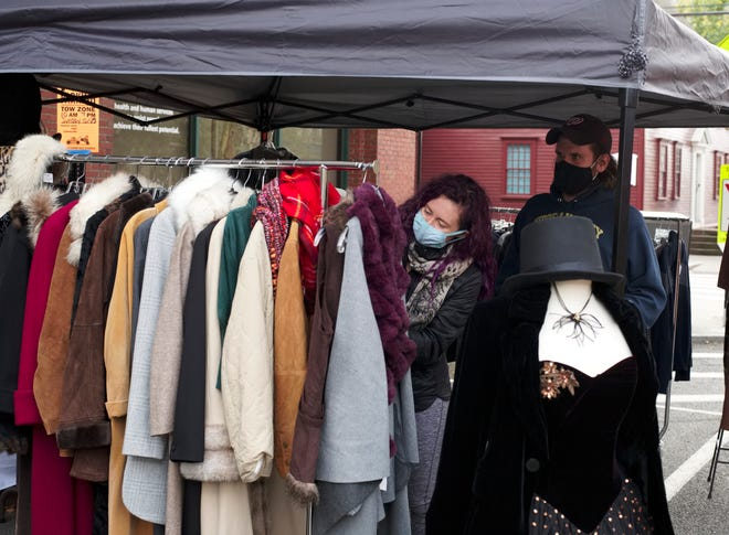 Outdoor shopping at Closet Revival on Lower Broadway on Sunday.