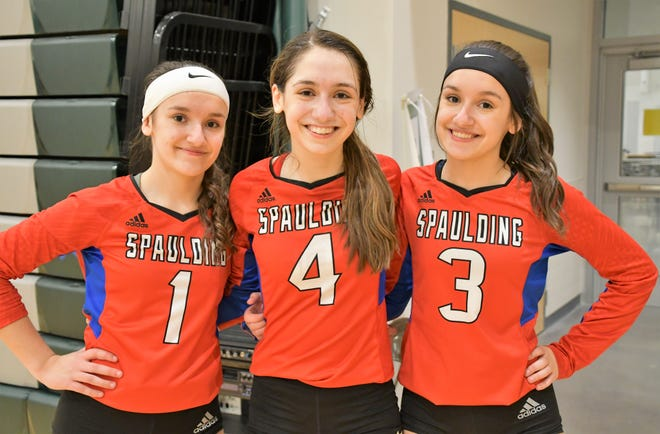 The Beatty sisters have played varying roles for the undefeated Spaulding High School volleyball team. Pictured, from left, are Alicia, April, and Amelia.
