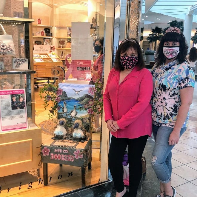 Irene Holthaus (left) and her daughter, Dena Cassidente, with the chair they painted as part of Jupiter Medical Center's Pink Chair Project, were diagnosed with breast cancer a month apart earlier this year. Their chair is on display at the Brighton store in The Gardens mall.