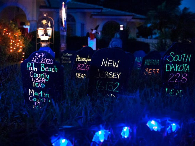 Homeowner Susan McGirt has included the death tolls of victims of COVID-19 in her Halloween display in Jupiter October 21, 2020. [MEGHAN MCCARTHY/palmbeachdailynews.com]