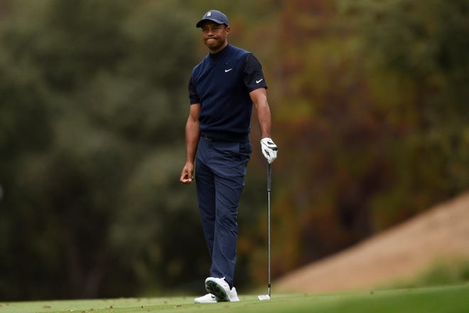 Tiger Woods, shown reacting to a shot during the third round of the Zozo Championship, struggled on a Sherwood Country Club course where he has dominated in the past.