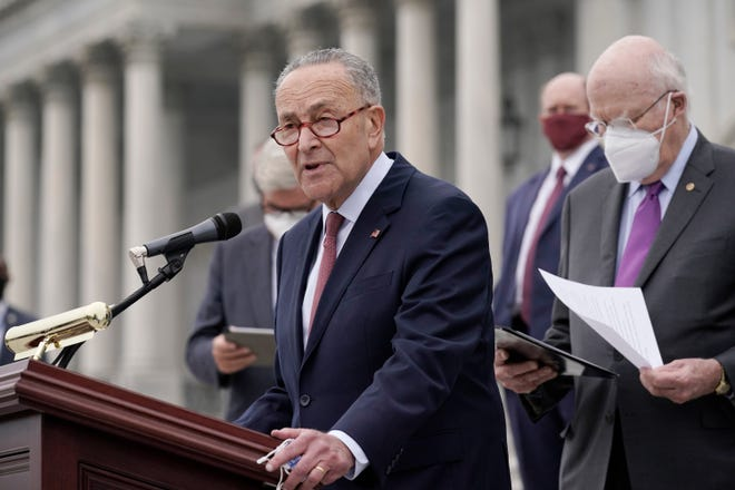Senate Minority Leader Chuck Schumer, D-N.Y., and Democratic members of the Senate Judiciary Committee hold a news conference after boycotting the vote by the Republican-led panel to advance the nomination of Judge Amy Coney Barrett to sit on the Supreme Court, Thursday, Oct. 22, 2020, at the Capitol in Washington. (AP Photo/J. Scott Applewhite)