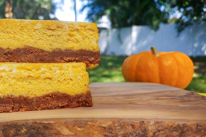 """Sole survivors: Two pumpkin cheesecake bars from the New York Times batch made it to the photo shoot for their close-up. They had been cut and removed from the pan before """"the incident."""""""