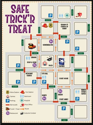 This map of the downtown area shows the route of Thursday's Safe Trick 'R Treat.