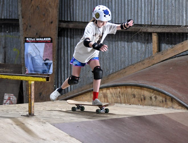 Macy Colby skates at the Skate Barn in Hampstead in 2020. In nearby Surf City, town officials are looking to build a skatepark for residents and visitors.