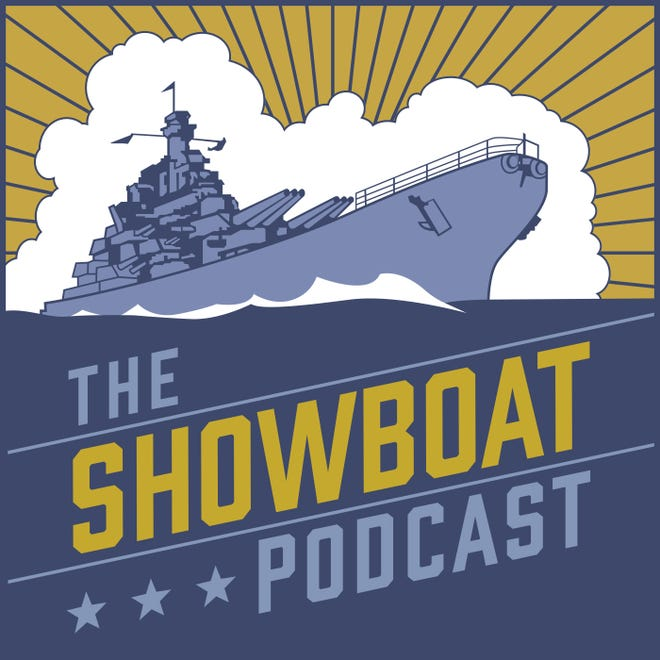 The logo for the Battleship North Carolina's new podcast, The Showboat Podcast, which will explore the history of the World War II warship.
