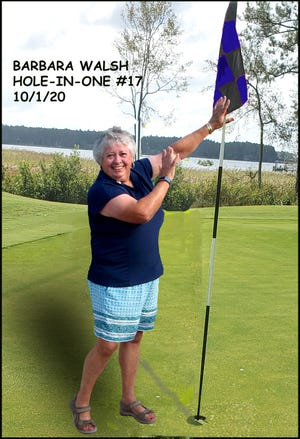 Harbour Pointe Ladies Golf Association member Barbara Walsh scored her first hole in one during the group's Championship Tournament on October 1. Congratulations to Barbara!