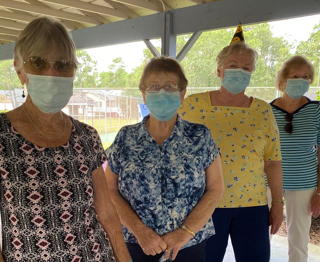 Several members of the Monday Mah Jongg group turned 80 during the pandemic. Their birthdays were celebrated at a picnic at Red Sail Park. The players who had birthdays were (left to right) Eileen Milligan, Jane Swartout, Ginny Springer, and Laura Rooney. [CONTRIBUTED PHOTO]
