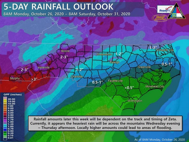 Rain from yet another tropical system that came ashore on the Gulf Coast will reach the Carolinas later this week.
