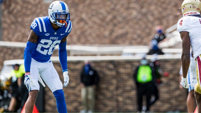 Terry Sanford graduate Mark Gilbert (28) will skip the rest of Duke's 2020 season to prepare for the 2021 NFL Draft.