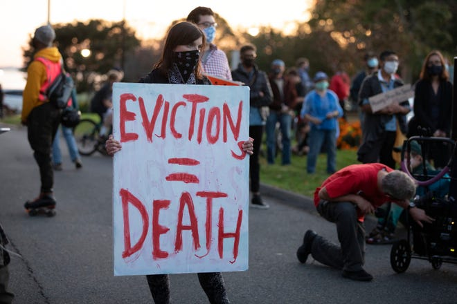 Housing activists demonstrate in support of more robust protections against evictions and foreclosures during the ongoing coronavirus pandemic.