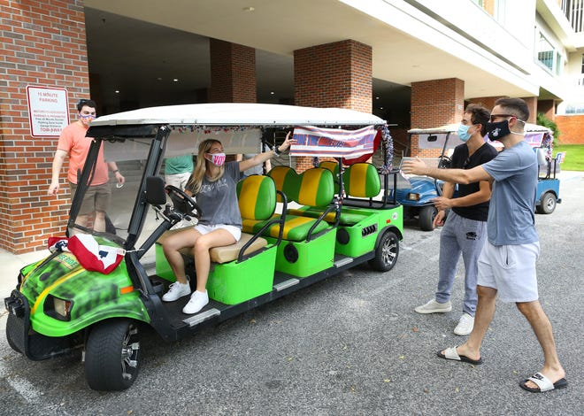 University of Florida students can get a ride on the MitzVote Mobile golf cart from the University of Florida Hillel to the early-voting site at the Reitz Union. Early voting ends Saturday at 6 p.m.