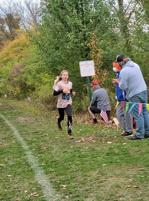 Kali Wallace, a 6th grader from Claymont, ran the 6th Grade and Under State Cross Country Meet Sunday in Dublin and took 1st place in the 2-mile run with a time of 12:46.