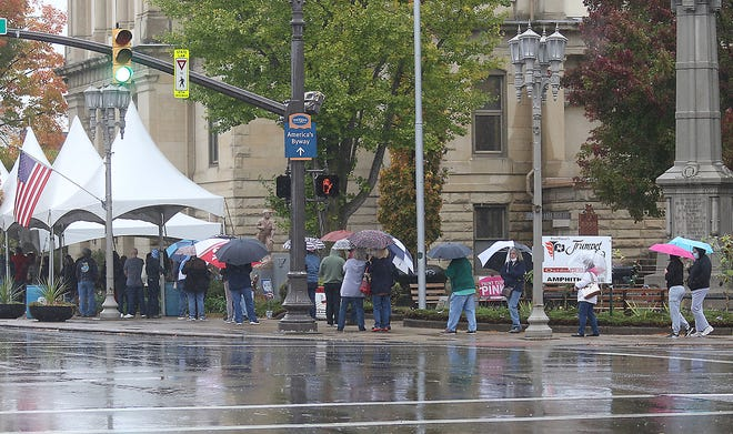 Rainy weather didn't stop voters that showed up at the Tuscarawas County Courthouse in this file photo from early last week.