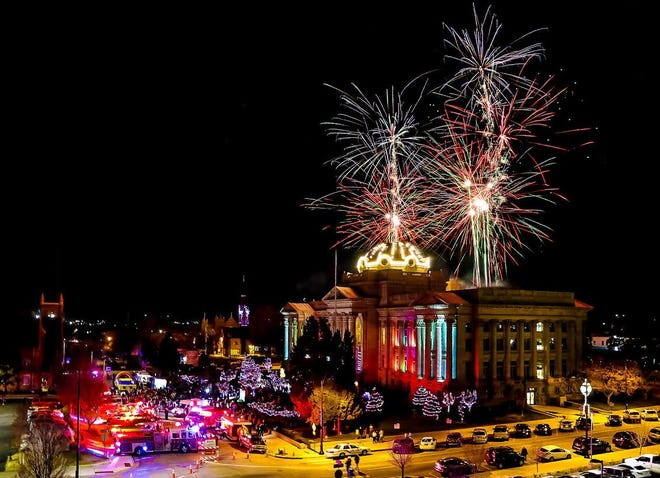 The annual Pueblo County Courthouse Lighting event usually has fireworks as pictured here in 2018. However, this year the event has been forced to go virtual because of the COVID-19 pandemic.