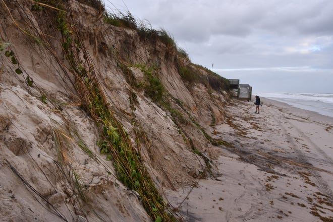Brevard County's south beaches near Juan Ponce de Leon Landing suffered heavy erosion to the dunes in September.