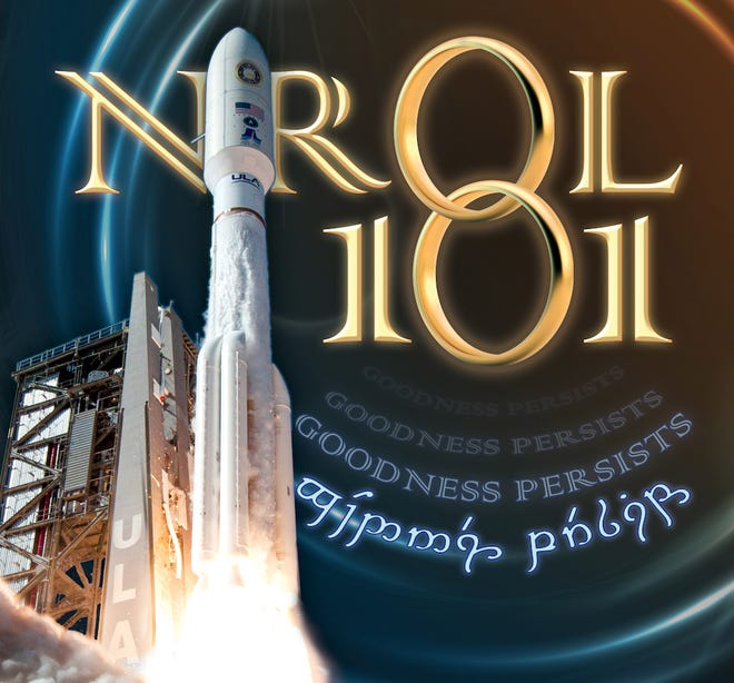 Mission artwork for the National Reconnaissance Office's NROL-101 mission, launching on an Atlas V rocket on Election Day, features elements from 'Lord of the Rings.'