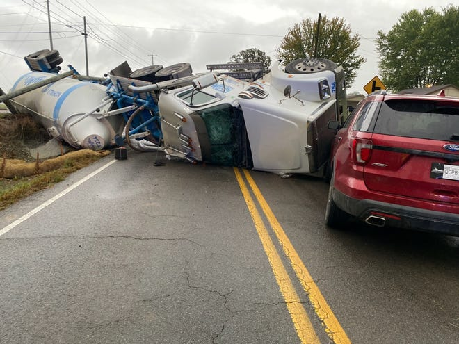 A  semi overturned on Rossview Road at Cardinal Lane, causing three hour road closure, Oct. 26, 2020.