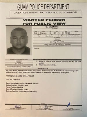 Guam Police Department is looking for Ray Alfred Munoz in an ongoing family violence case.