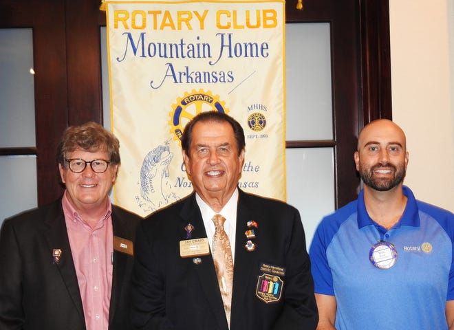 Shown above are (from left) Assistant Governor Stewart Brunner, District Governor Jay Craig, and Mountain Home President-Elect Wes Wood.