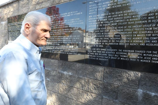 Dennis Wiessner at a monument dedicated to Irish immigrants who were hung in Mahanoy City, Pennsylvania in the 1800's. Supporters of President Donald Trump in Schuylkill County, Pennsylvania hope to get the president re-elected.