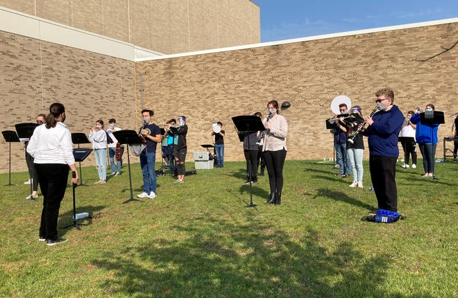 Livonia Public Schools students participate in a band class.