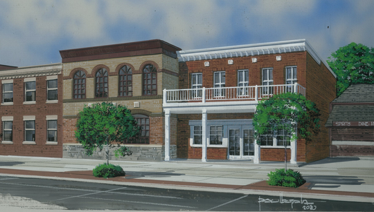 A rendering shows a proposed new building at 1110 Military St., which would feature a marijuana provisioning center.