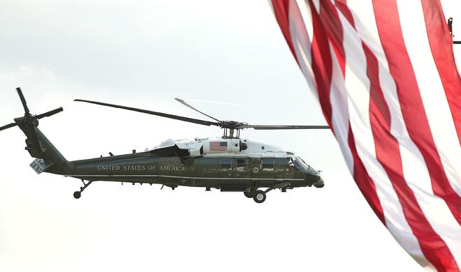 Marine One leaves after President Trump spoke during a Make America Great Again Victory Rally at The Villages on Friday, October 23, 2020. (Stephen M. Dowell/Orlando Sentinel/TNS)