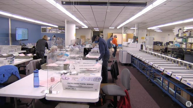 A screenshot of Washoe County's live stream of the 2020 Election ballot counting room.