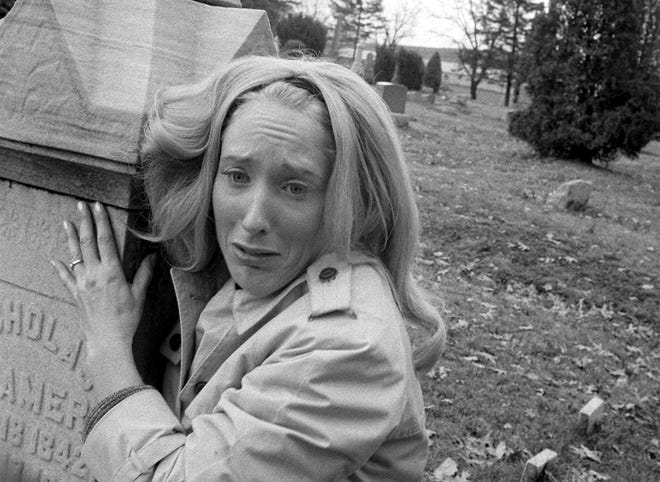 "Judith O'Dea as Barbra in the open scene of 1968's ""Night of the Living Dead."""