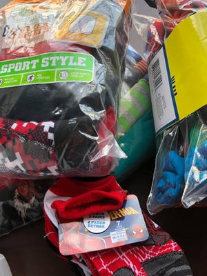 Socks and underwear collected during Heroes with Hope's 2019 drive.