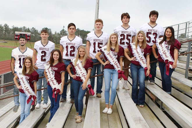 MHS's 2020 Homecoming Court from left to right: Braydin Hutchens and  Kaylie Lewis, Ross Cournoyer and Alyssa Duncan, Blaise Duncan and  Jenna Mae Reeves, Causey Owen and Maddie Mahfouz, Lane Hamilton and Kailee Hickman, and  Michael Ramirez and Micah Farris.