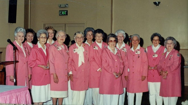 """BHS Ladies Auxiliary from years ago.  They are named after their signature coats, being called the """"pink ladies""""."""