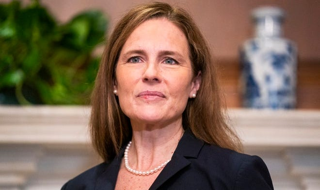 Supreme Court nominee Amy Coney Barrett  on Wednesday, Oct. 21, 2020, on Capitol Hill in Washington.