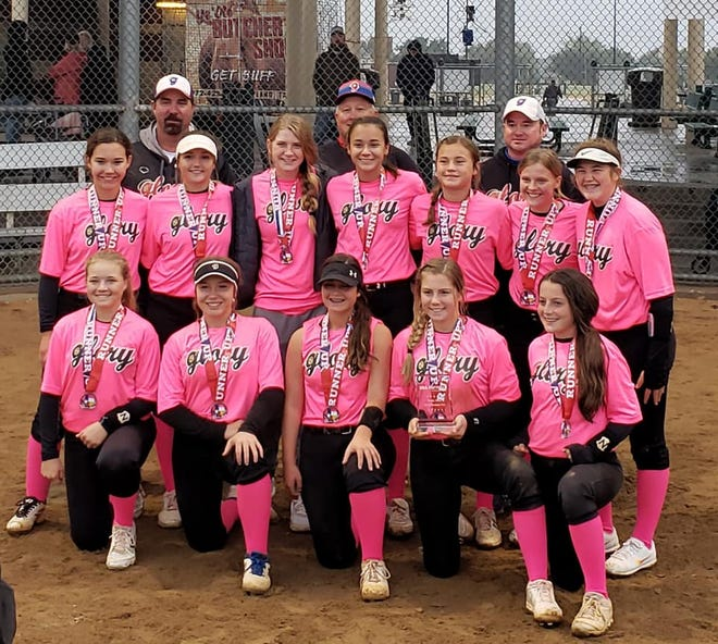 This past weekend Glory-Crelia 14U competed in the Plano South X Southwest-Slugfest Softball Tournament. They came in second out of 18 teams in their age group. Pictured back row: Head Coach Bobby Crelia, Asst. Coach Michael Vita, Asst. Coach Chris Wolf. Middle Row: Jordyn Mcintire, Teven Stovall, Stoney Laughlin, Abby Wolf, Kyleigh Caperton, Lacie Isenhower, River Jones. Bottom Row: Aubrey Greaves, Marissa Reedy, Julianna Ethridge, Lyndi Landers, Lacie Day