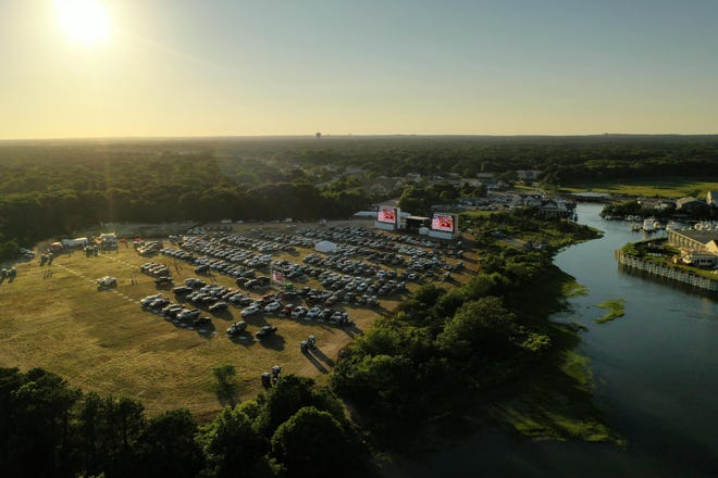 An aerial view of the Yarmouth Drive-In on Cape Cod site, where concerts, comedy shows and movies were offered in a socially distanced venue amid the pandemic.