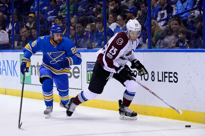 Then a member of the Colorado Avalanche, Mikhail Grigorenko handles the puck against St. Louis Blues defenseman Chris Butler in April 2017.