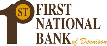 The First National Bank of Dennison has settled a tax dispute with the state.