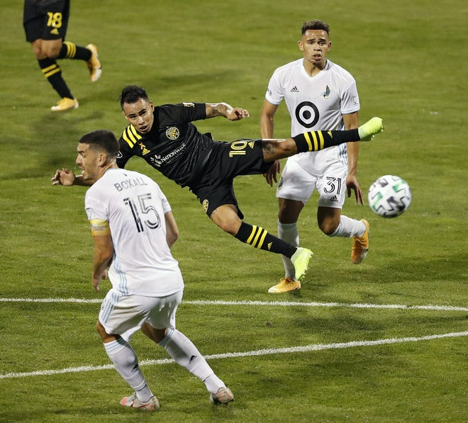 Lucas Zelarayan, taking a shot against Minnesota United in September, has five goals and four assists in 12 games for the Crew.