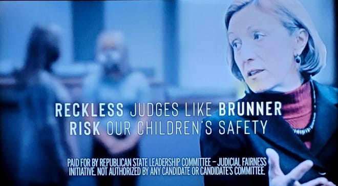 The Republican State Leadership Committee attacks Jennifer Brunner, a Democrat running for Ohio Supreme Court, in a TV commercial.